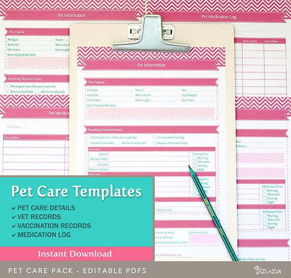 Pet Care Records Templates Keeping and managing records is a must - free log template