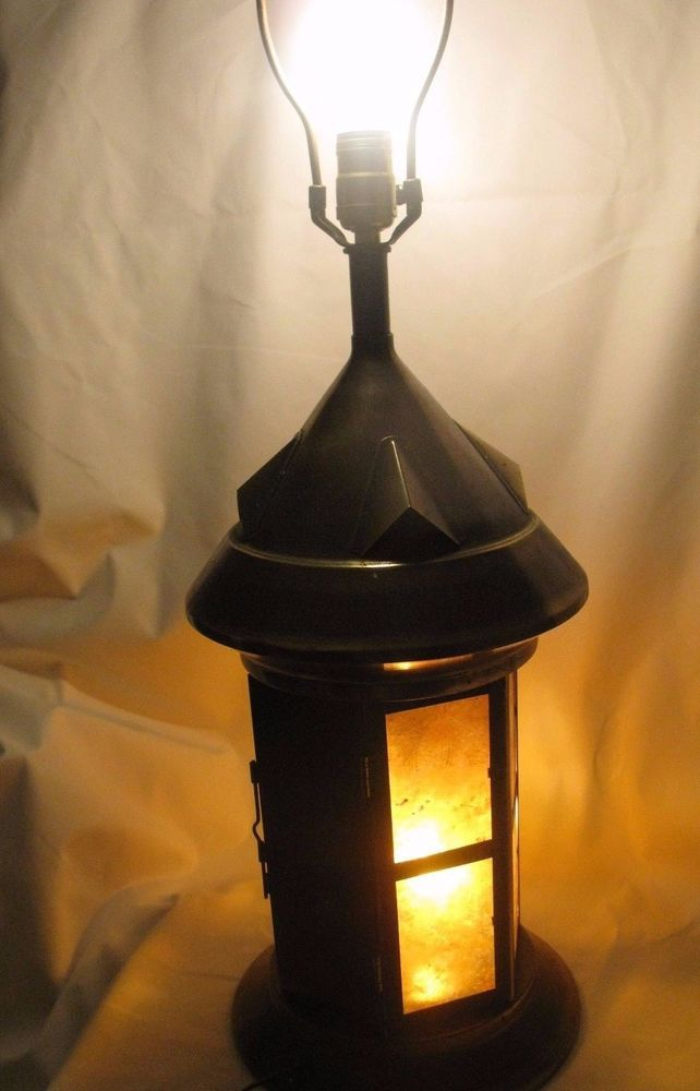 Bronze Vintage Nautical Lantern Table Lamp 3 Way Switch Excellent
