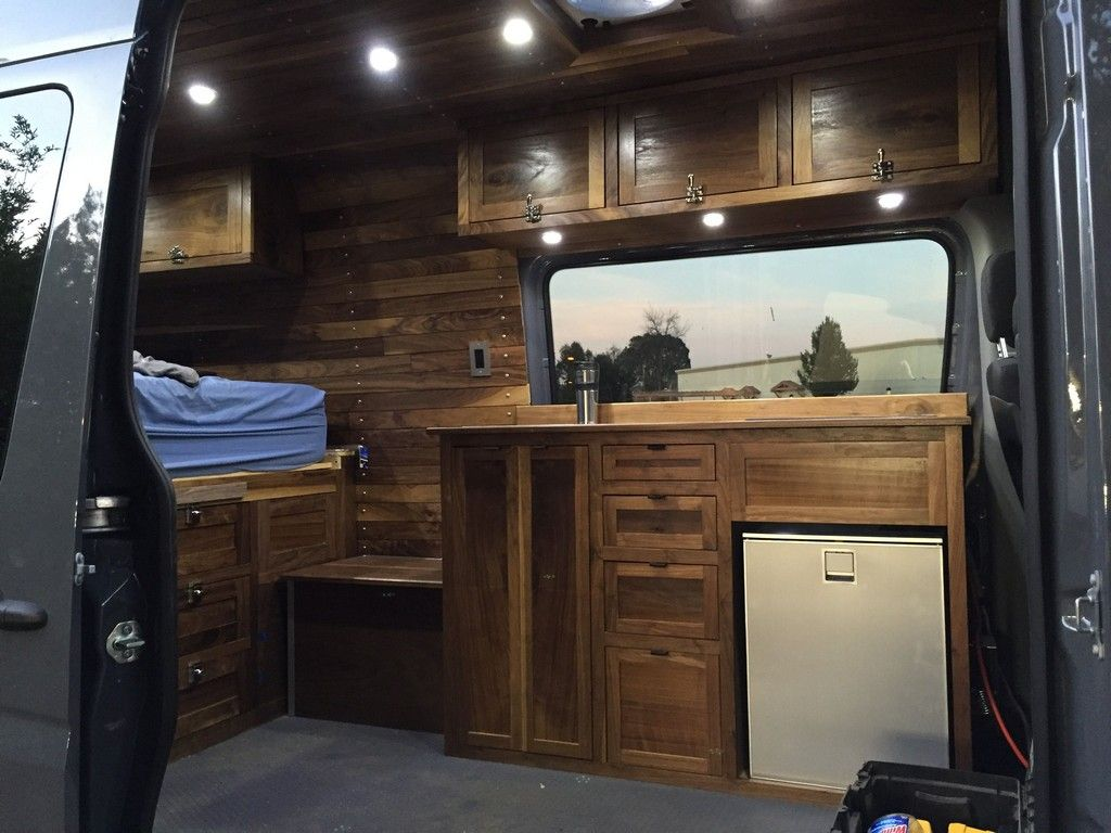 20 Awesome Wood Interior Ideas for Sprinter Van Camper  Guide  Camper van conversion diy Van conversion interior Sprinter van conversion