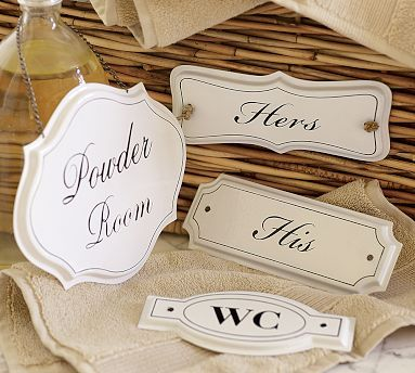Door and drawer signs. I love these.  I want the his and hers for above our closets, too cute!