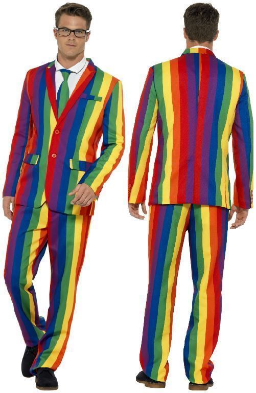 c36f35218fa7 Mens Stand Out Suits Stag Do Party Rainbow Gay Pride Comedy Fancy Dress  Costume  Smiffys  Striped