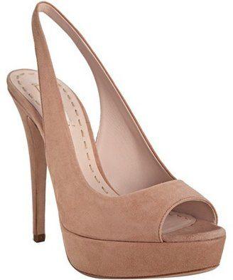 ba3bde563f5 ShopStyle  Miu nude pink suede platform peep toe slingbacks