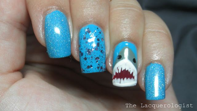 Shark Nails By The Lacquerologist Nails Pinterest Shark Week