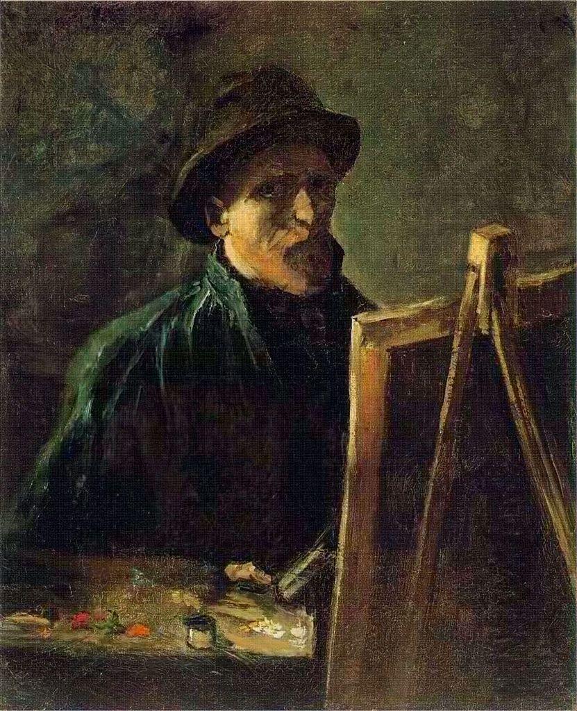 Dappledwithshadow Self Portrait With Dark Felt Hat At The Easel