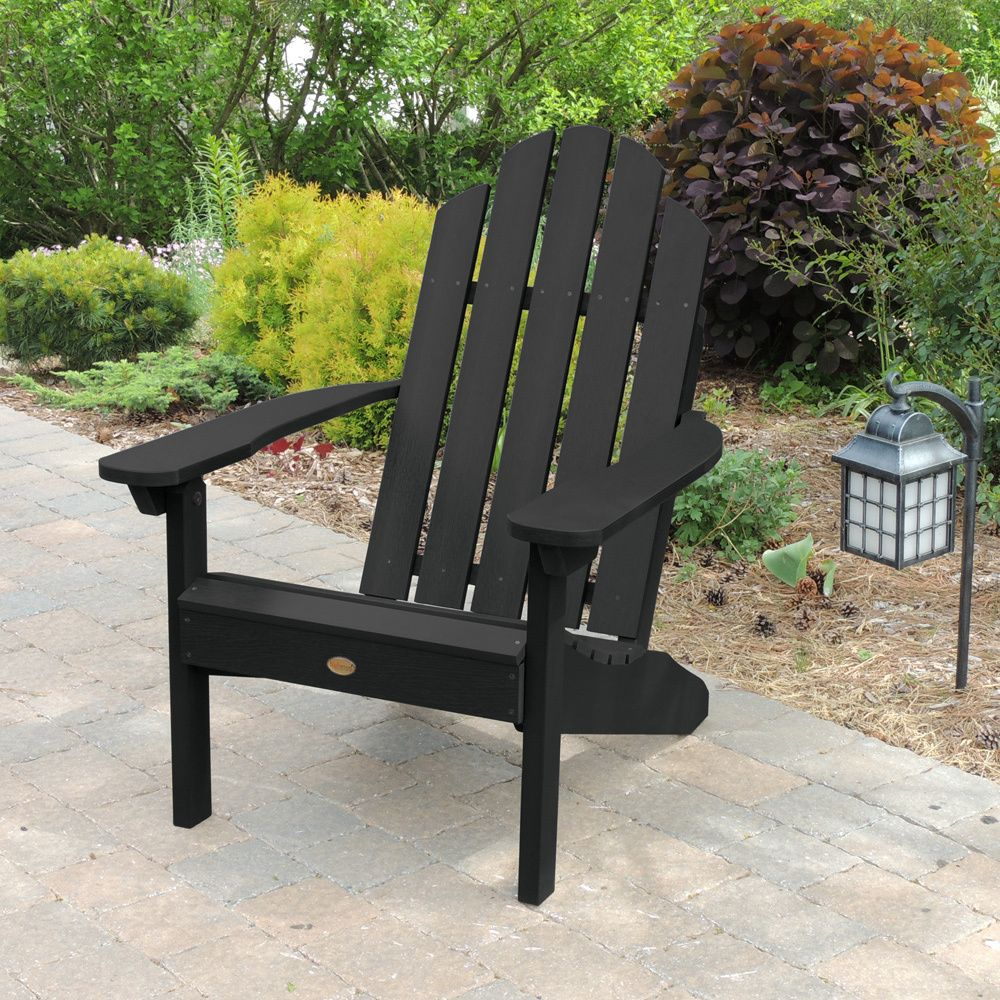 Highwood Eco Friendly Synthetic Wood Clic Westport Adirondack Beach Chair Black Size Single Patio Furniture Plastic