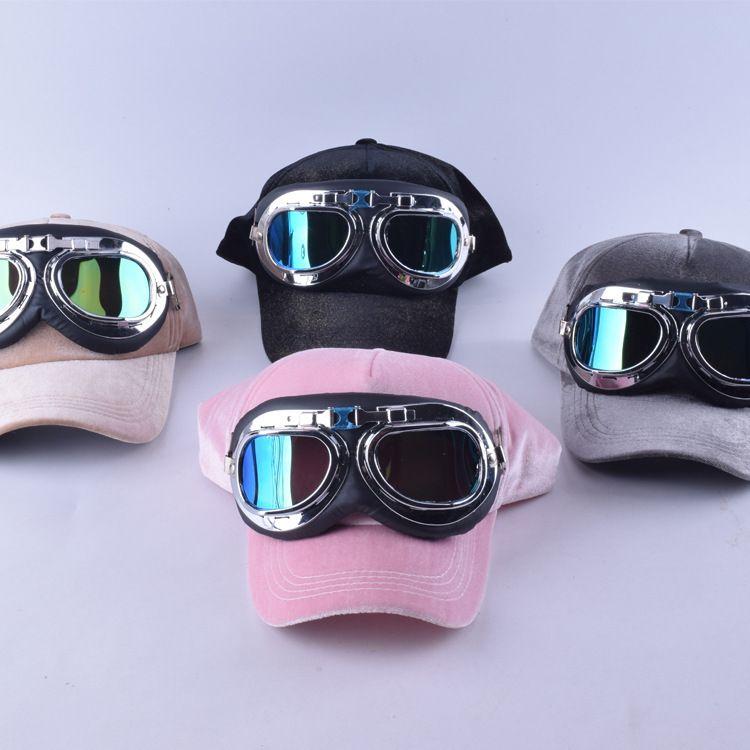 d47d6d9de5d Fancy cotton 6 panels ski goggles baseball cap with polite glasses sports  caps decoration novelty halley
