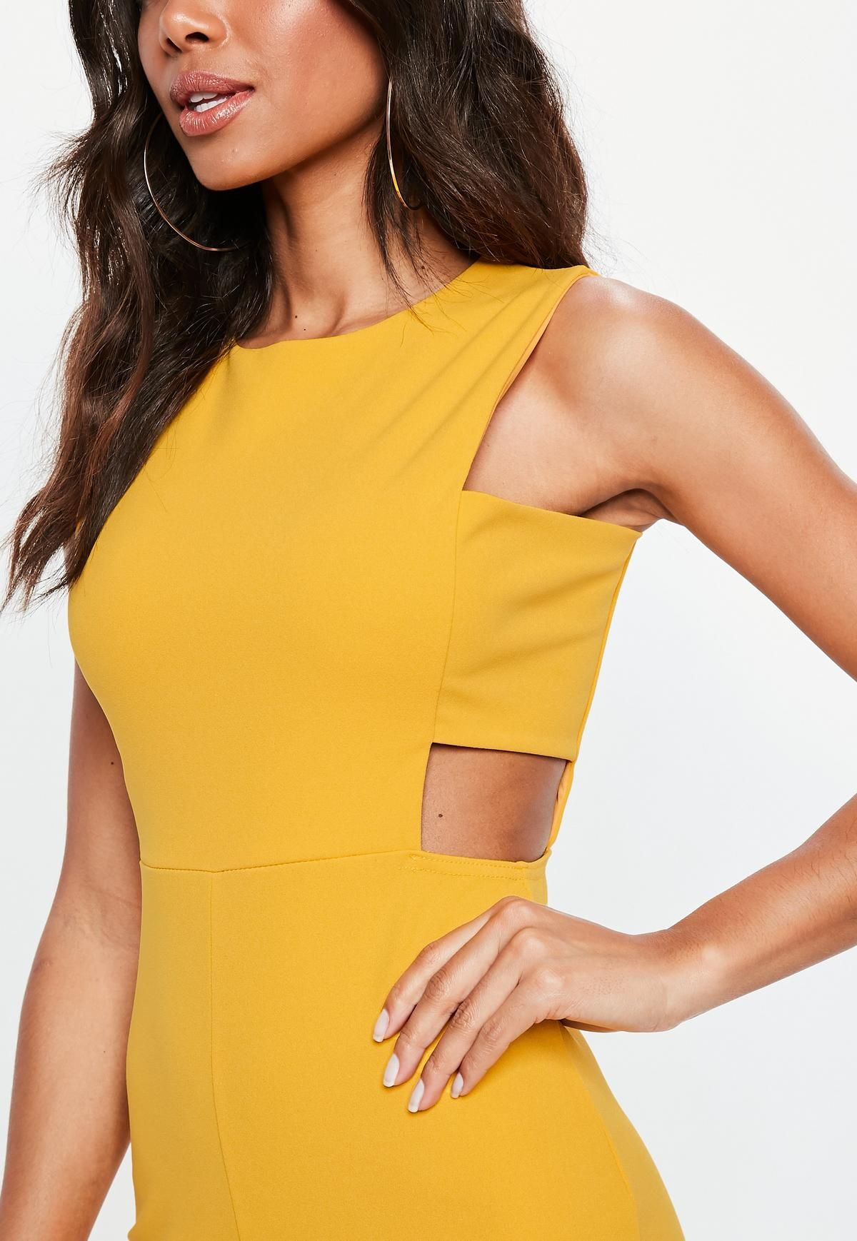4e12ffb262e4 Yellow Tab Side Culotte Jumpsuit | Missguided | IDEJE | Yellow ...