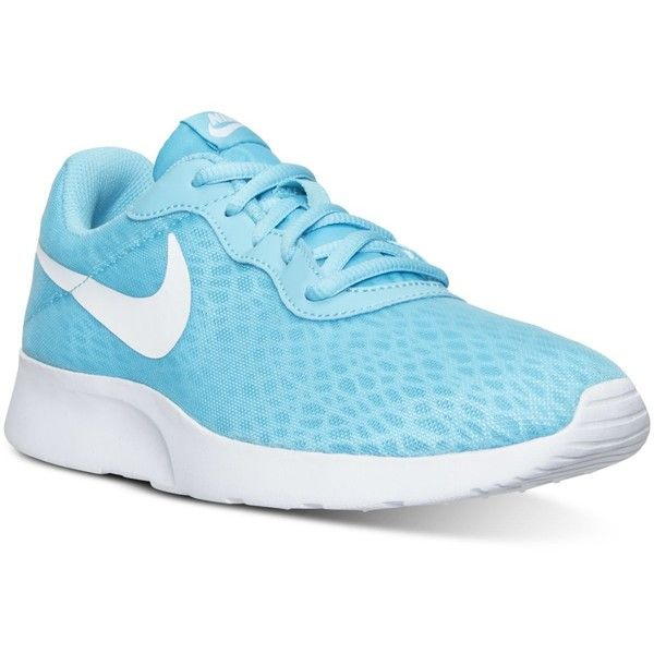 ... Nike Women's Tanjun Br Casual Sneakers from Finish Line ($70) ❤ liked  on Polyvore Nike Tanjun ENG (Glacier Blue/Blue Tint/Electro Green) ...