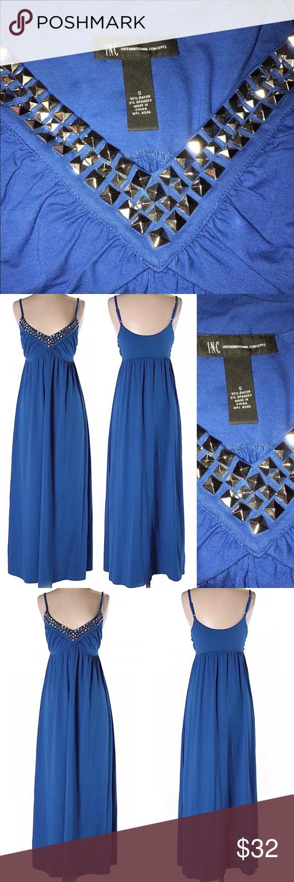Inc international dress size small royal blue long my posh picks