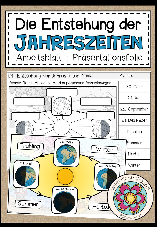 Die Entstehung der Jahreszeiten   Arbeitsblatt + ...