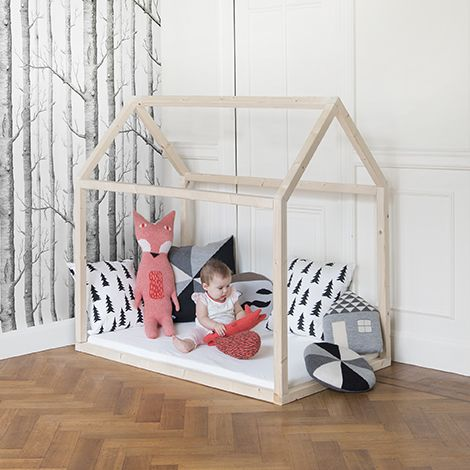 simple wood frame house floor bedframe for toddlers with birch