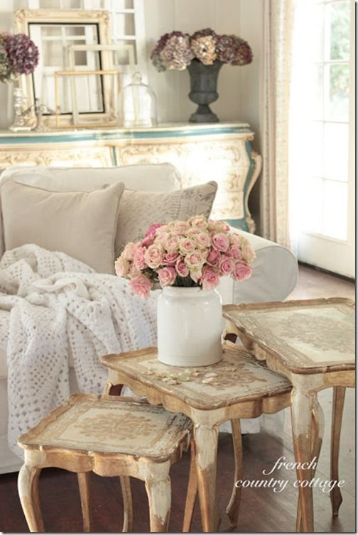French Country Cottage Feature Distressing Painted Furniture Cottage Living Rooms And Shabby