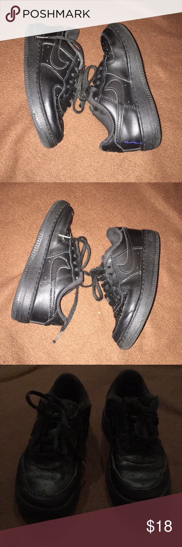 Black Low Top Air Force Ones Sz 11 Boy or Girl Used, but