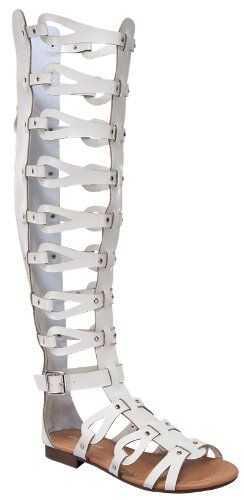 0420346a8 Atta 17 Womens Knee High Caged Gladiator Strappy Flat Sandals White 5.5  Forvever http