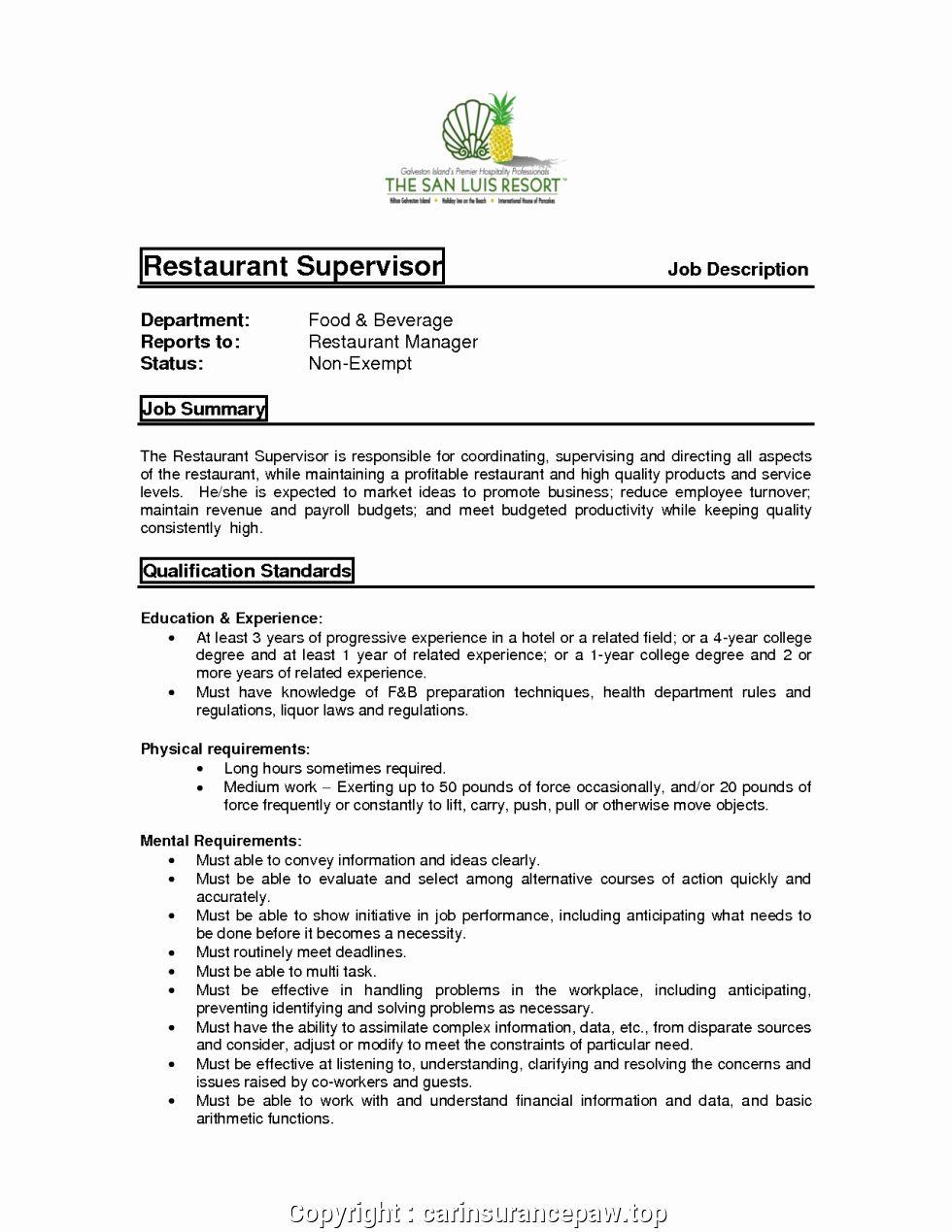 Assistant Manager Resume Description Best Of Print