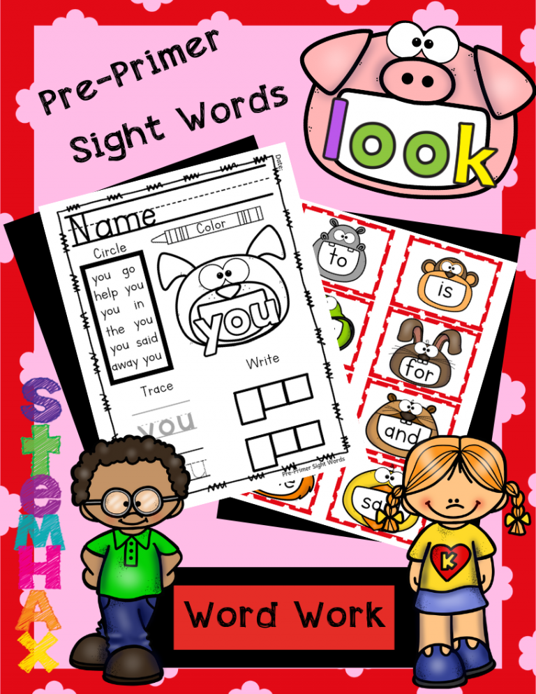 Cool PrePrimer Dolch Sight Word WOrk and Flash Cards for