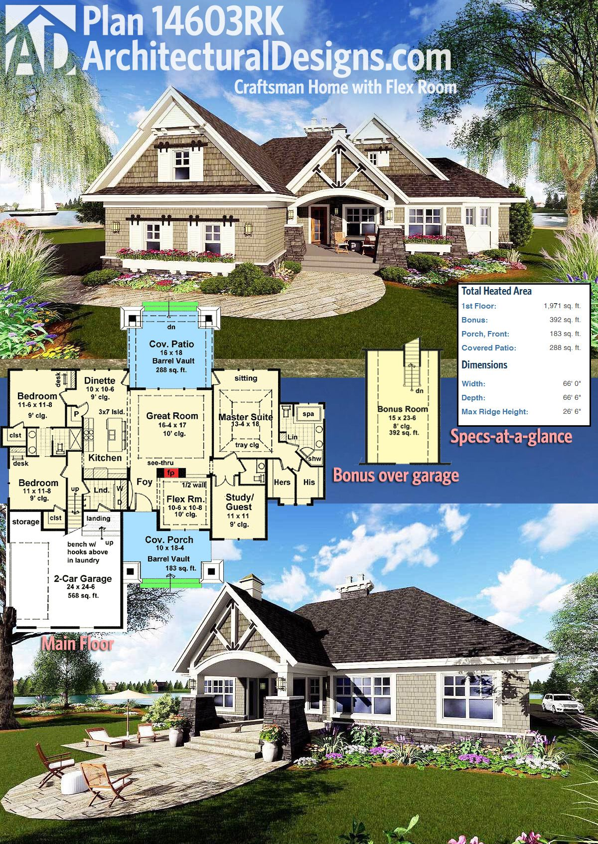 Plan 14603rk craftsman home with flex room craftsman for Flexible house plans