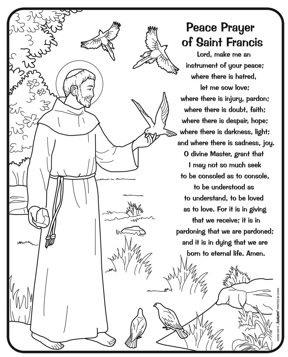 19608 23395 967 1200 religious ed for St francis coloring page