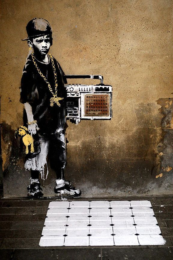 Hip Hop Youth by Banksy Painting Print on Wrapped Canvas