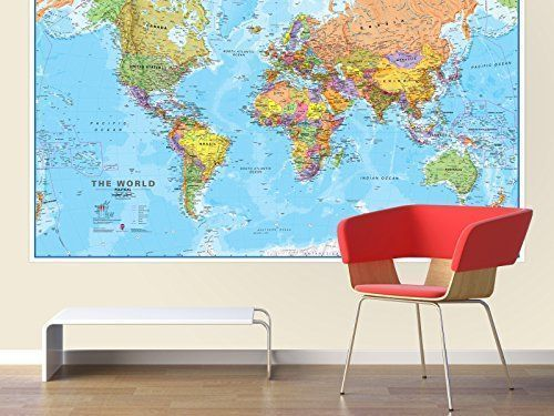Wall poster giant world map large huge print custom paper front wall poster giant world map large huge print custom paper front sheet lamination wallpostergiant gumiabroncs Choice Image