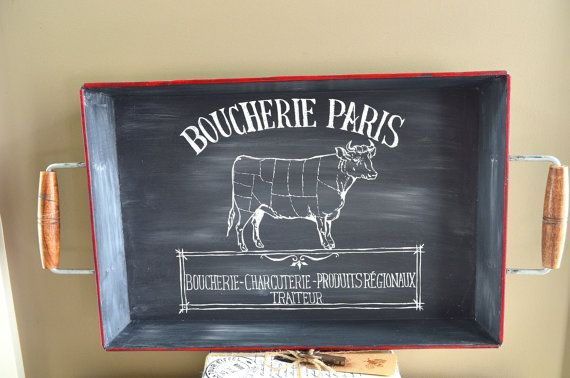 Hand Painted Chalkboard Look French Butcher Shop Sign Tray