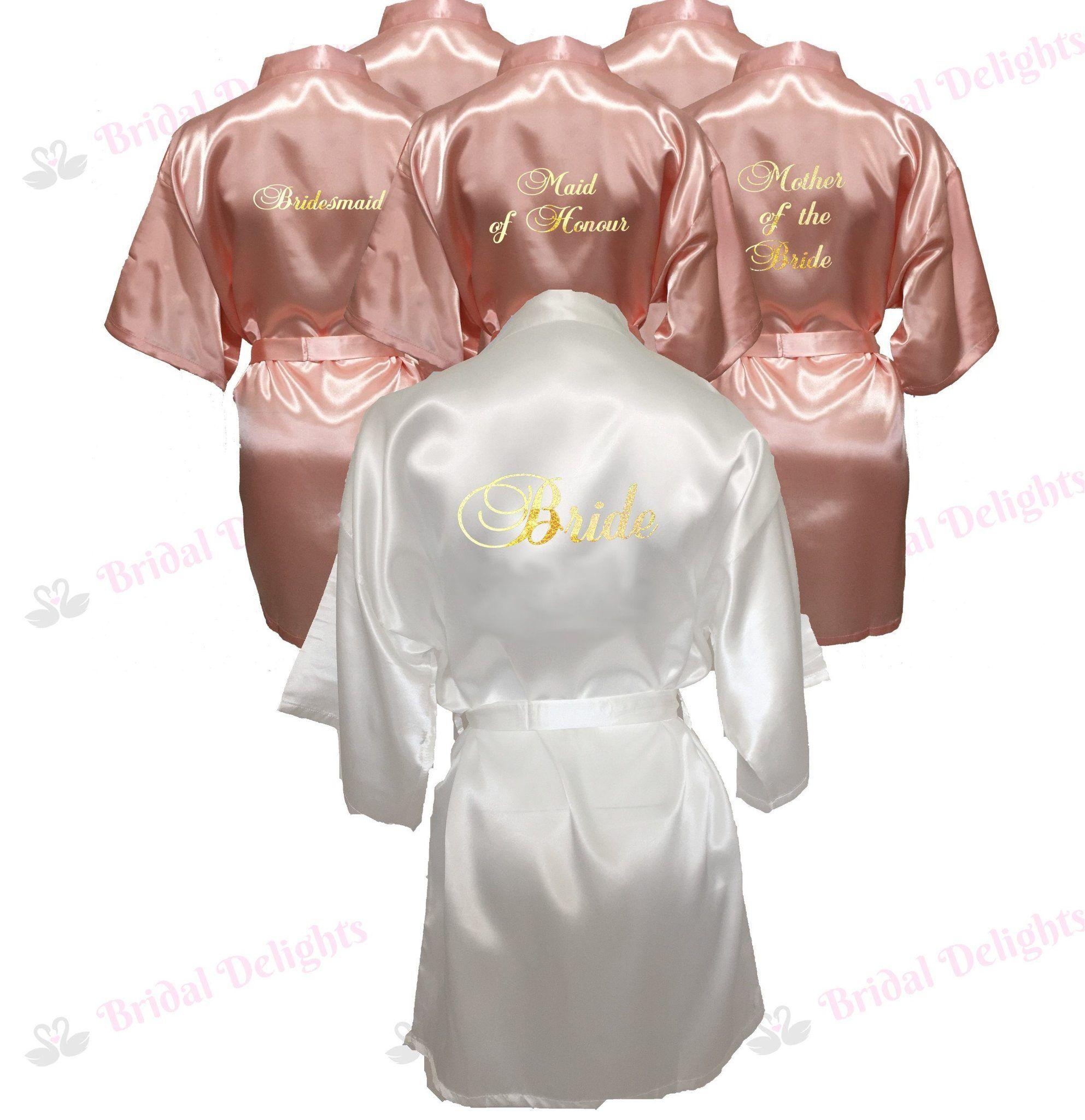 Wedding Day Rhinestone Satin Mother Of The Bride Honeymoon dressing gown robe