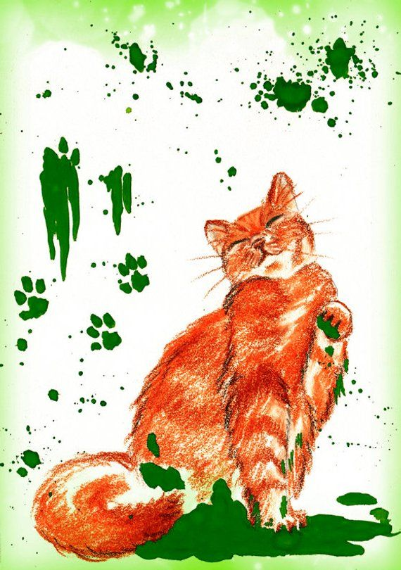 Funny Green Cat Greeting Post Card Color Birthday Cute Lover Placecards For