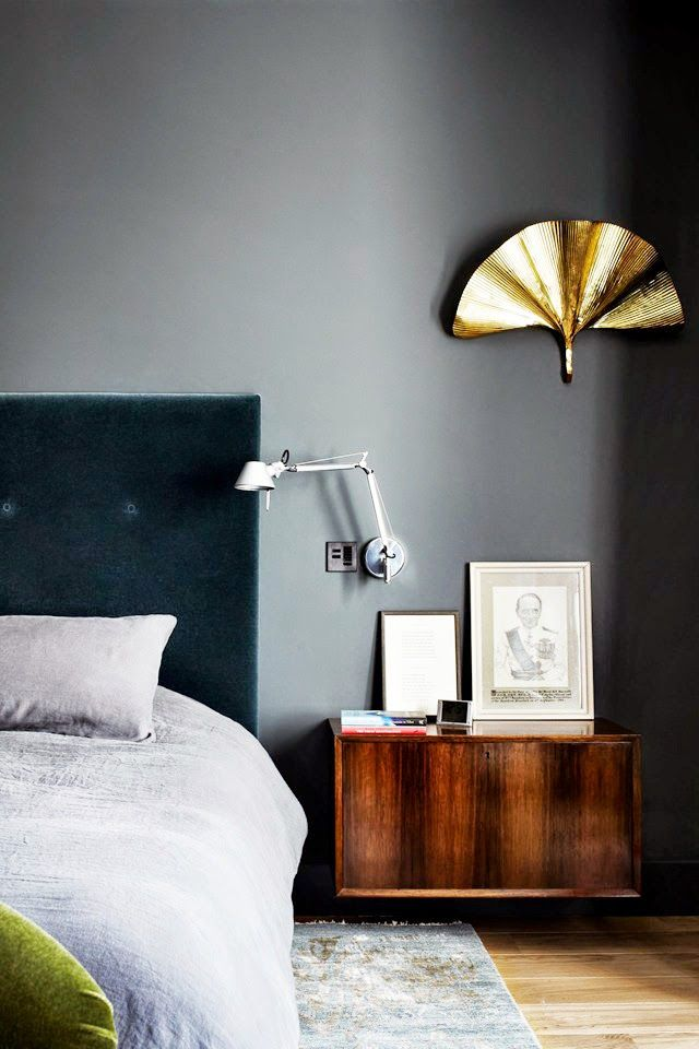 Grey Bedroom; Navy Velvet Headboard; Floating Bedside Cabinet