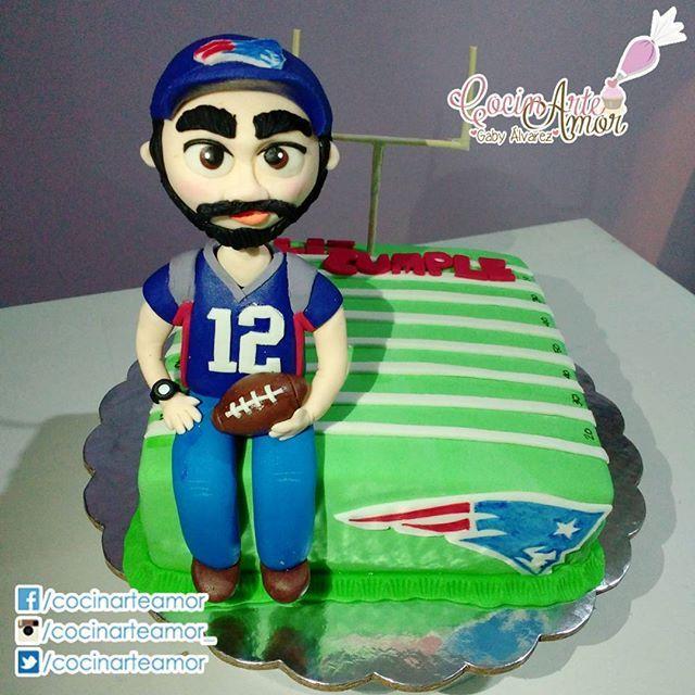 Pastel para aficionado de Fútbol Americano. Go Patriots! .🙊👑😘👌🎂🍰⭐🎇✨🎈🎉🎊🎁🎀