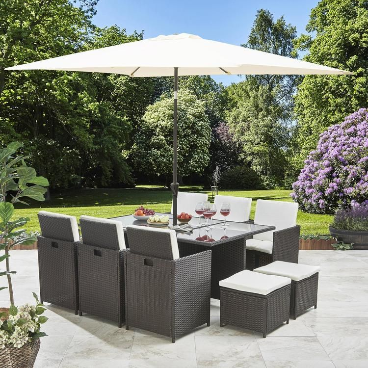 8 Seater Rattan Cube Outdoor Dining Set With Parasol Grey Weave Outdoor Dining Set Outdoor Garden Furniture Garden Furniture