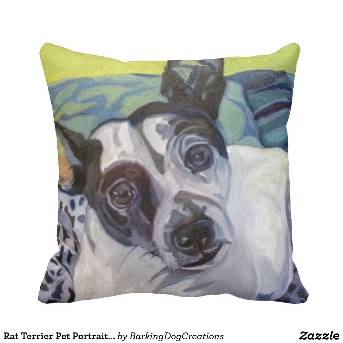 Rat terrier pet portrait pillow pretty pillows pinterest