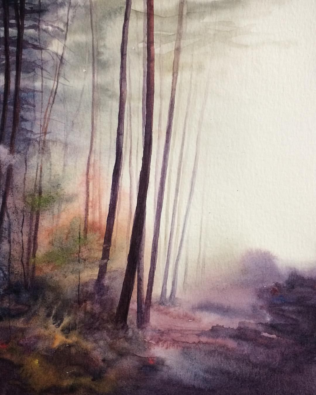 Forest Painting Forest Watercolor Watercolor Landscape