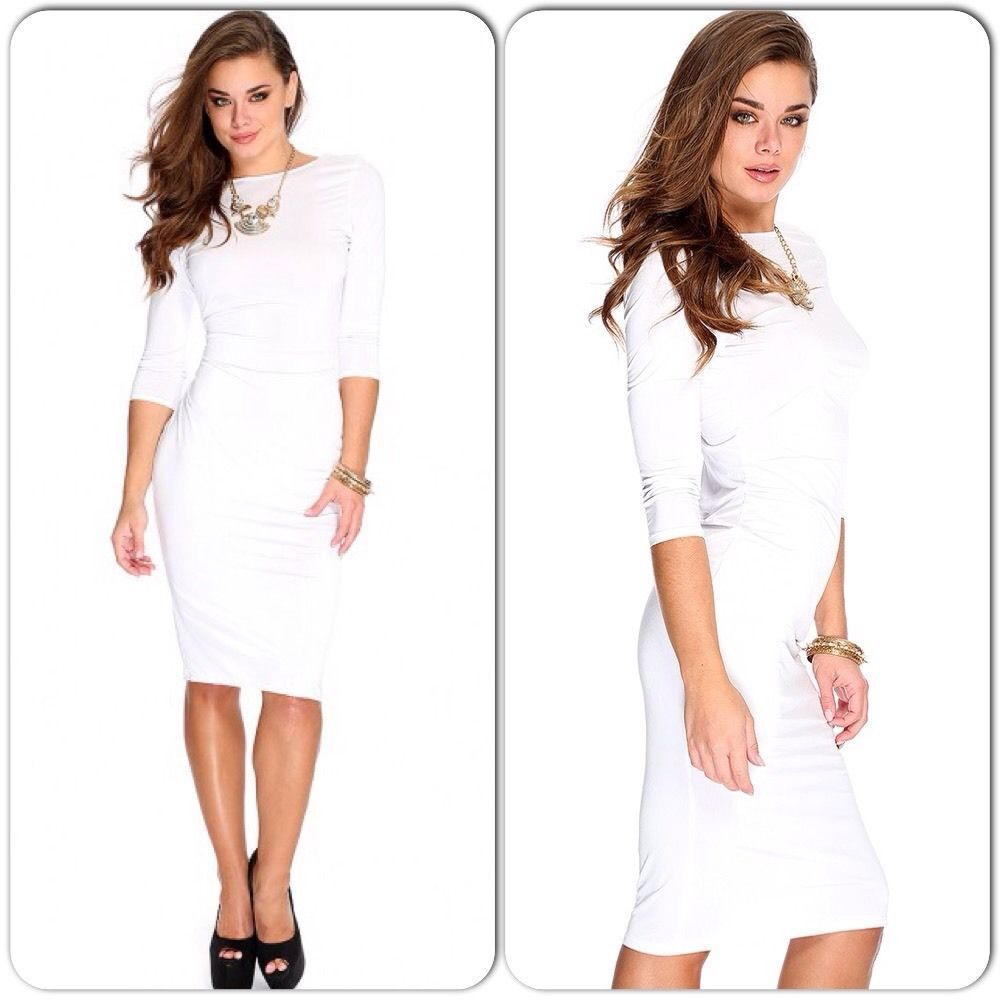 Classic white bodycon midi dress with 34 sleeves size