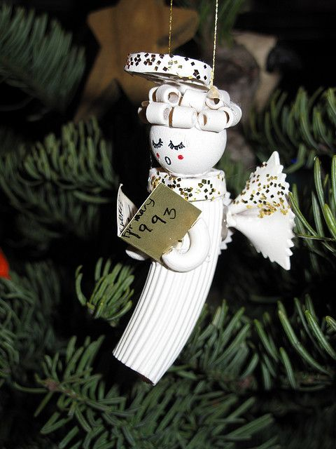 Macaroni angel ornament by mary made me, via Flickr