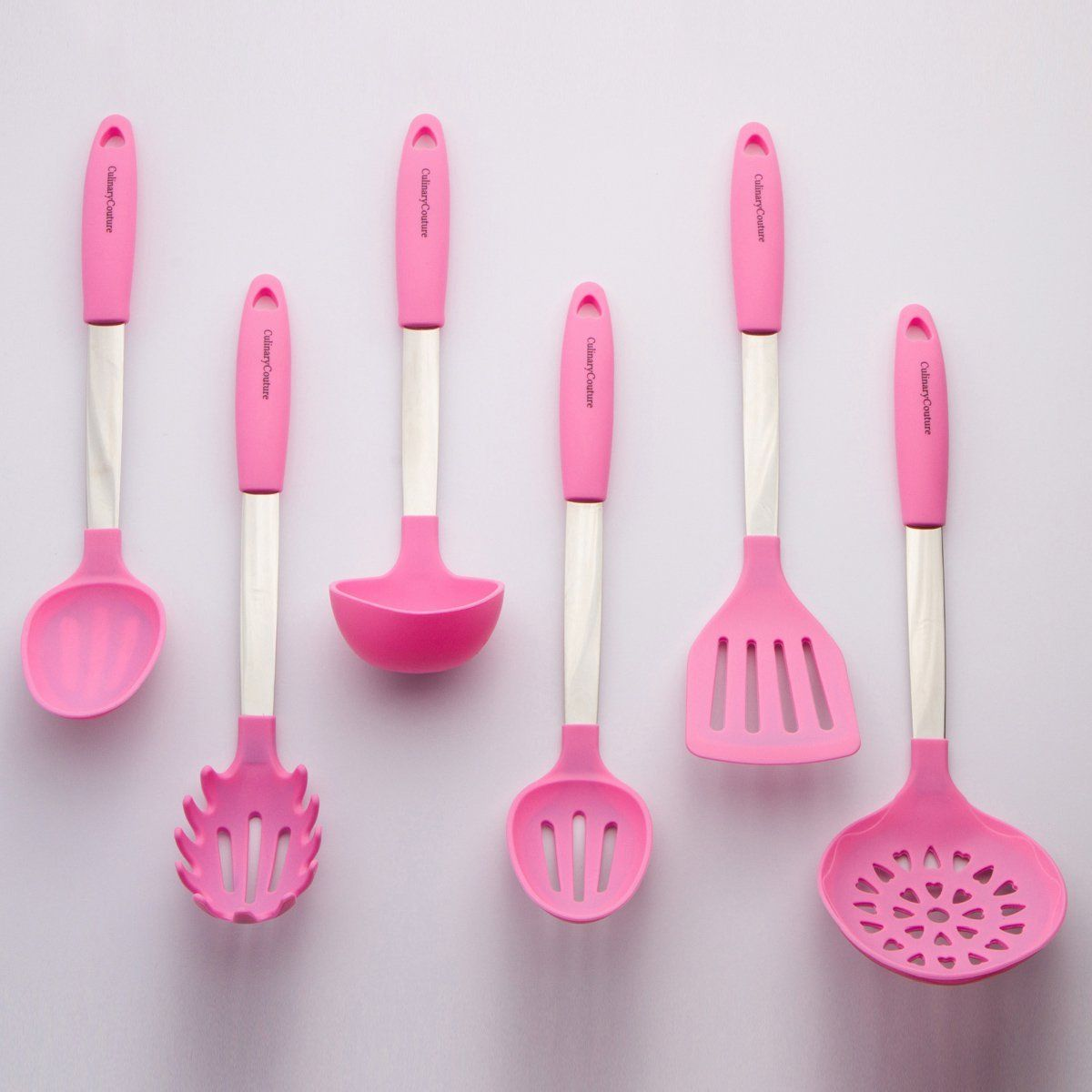 Culinary Couture Stainless Steel and Silicone Cooking Utensil Set ...