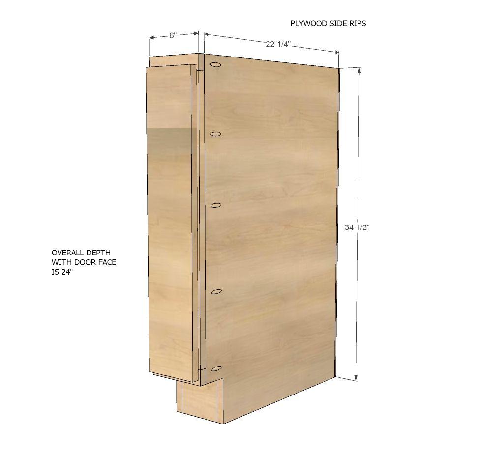 "Frameless Kitchen Cabinet Woodworking Plans: Build A 6"" Filler Tray Base Cabinet - Momplex"