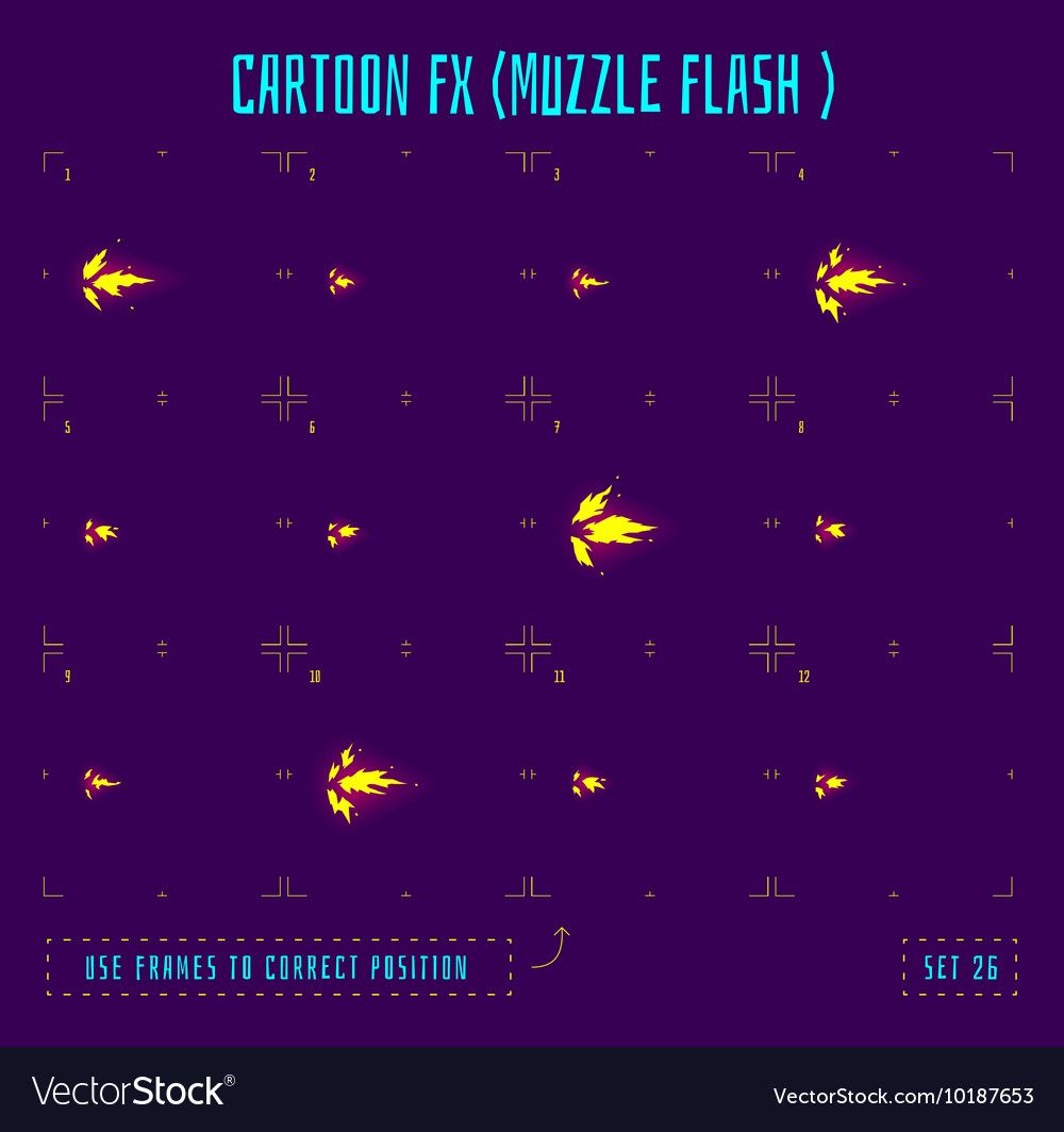 Muzzle Flash Explosion Sprites Or Fx Animation Frames Icons Use In Game Development Mobile Games Or Motion Graphic Vector I Animation Flash Animation Sprite