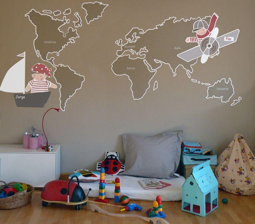 Habitacion infantil con vinilo de stencil barcelona for Vinilos habitacion infantil