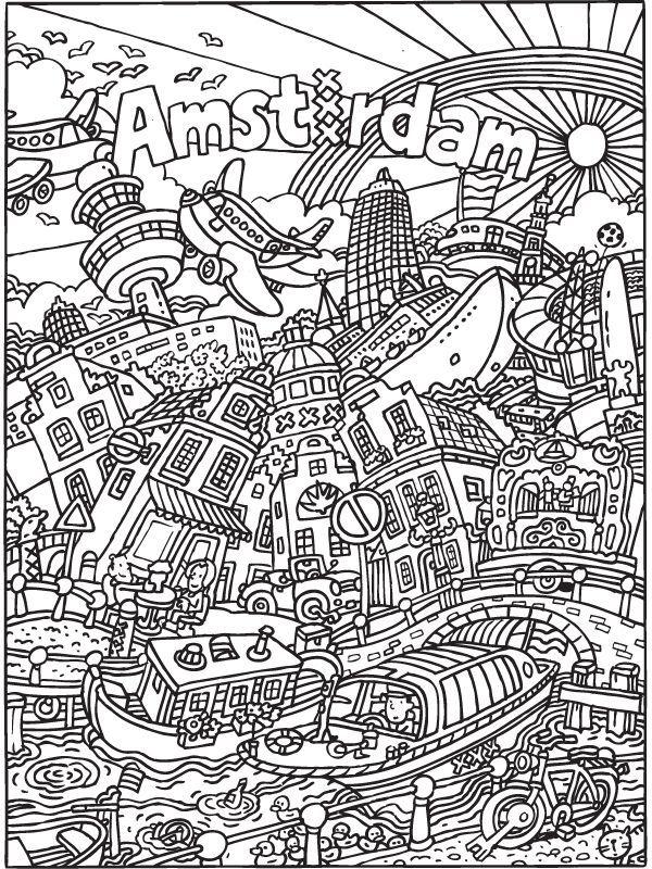 Kleurplaat Kleurplaat Voor Volwassenen Amsterdam