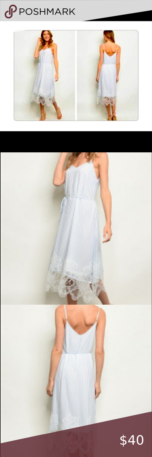 Blue and white candystripes knee-length dress