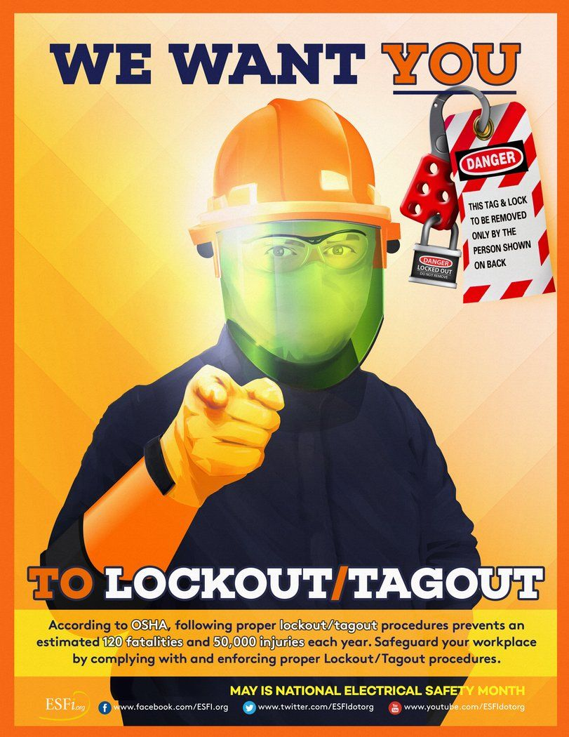 We Want You To Lockout / Tagout Health and safety poster