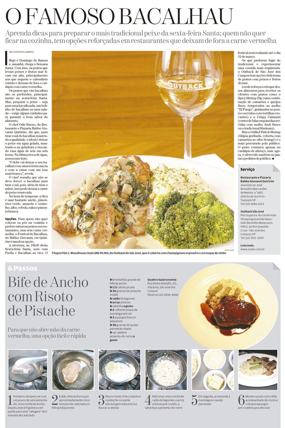 Matéria: O famoso bacalhau / Publicação: Jornal O Vale, 24 de março de 2013 / Cliente: Outback Steakhouse