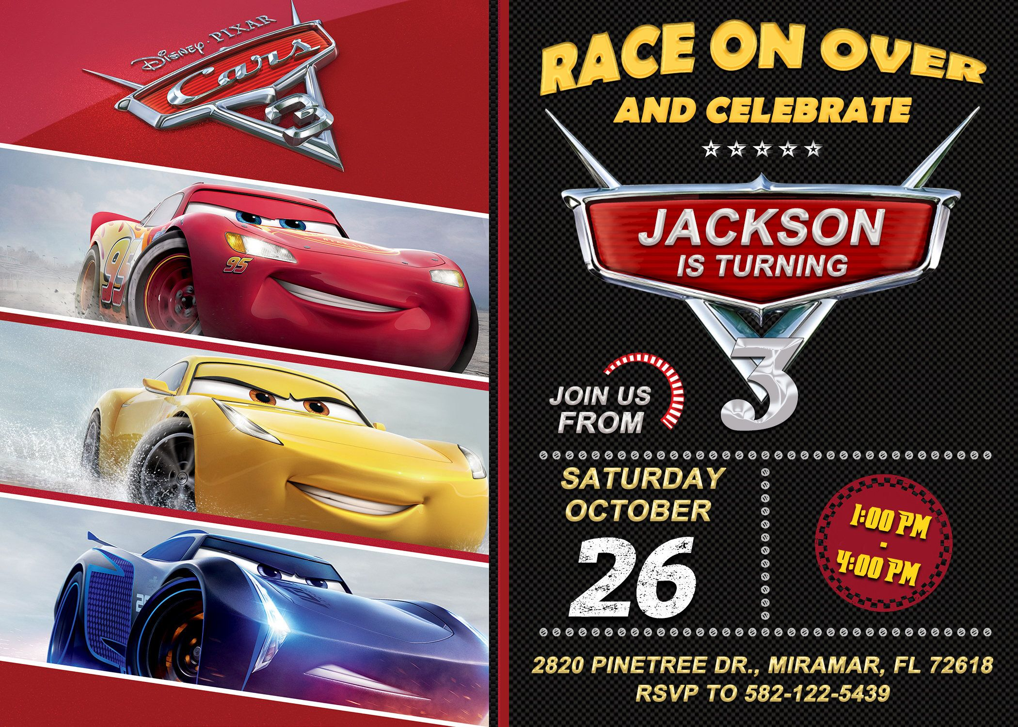 Disney Cars 3 Invitation Birthday Party