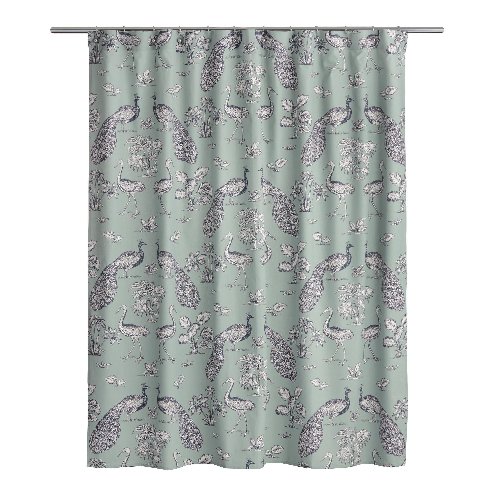 Jadeite And Navy Peacock Marlena Shower Curtain World Market Shower Curtain Curtains Bedding And Bath