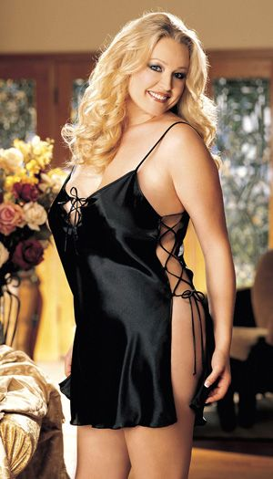 33ca30bb3f3 JevelLingerie.com Plus Charmeuse Lace-Up Chemise This beautiful chemise has  sexy adjustable lace-up sides
