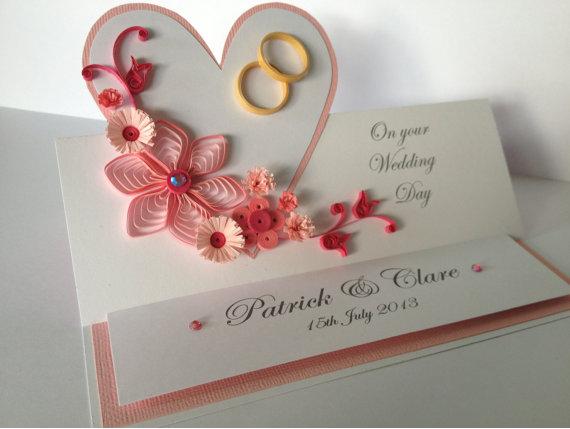 Heart Shape Quilling Paper Wedding Congratz Greeting Card Designs Quillingpaperdesigns