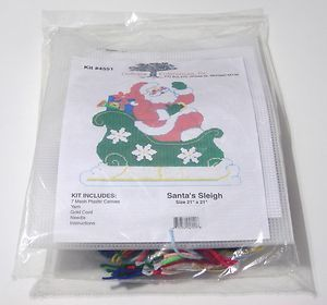 Outback Enterprise Santa's Sleigh Plastic Canvas Christmas Candy Card Holder NIP $28.99