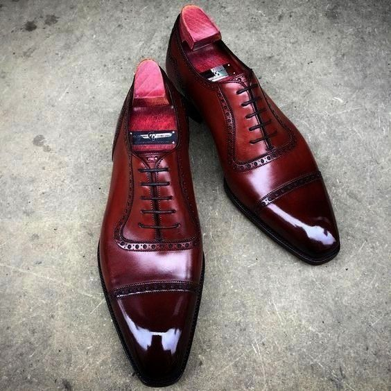 Siren Red Cap Toe Pure Leather Mens Formal Business ShoesBalmoral Siren Red Cap Toe Pure Leather Mens Formal Business Shoes cie wedding shoes mens dress shoe patina wine...
