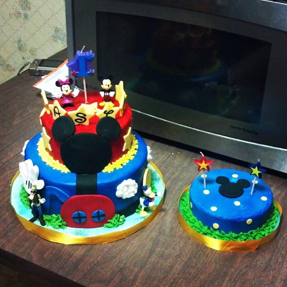Mickey Mouse 1st Birthday Smash Cake: Mickey Mouse Cake And Smash Cake