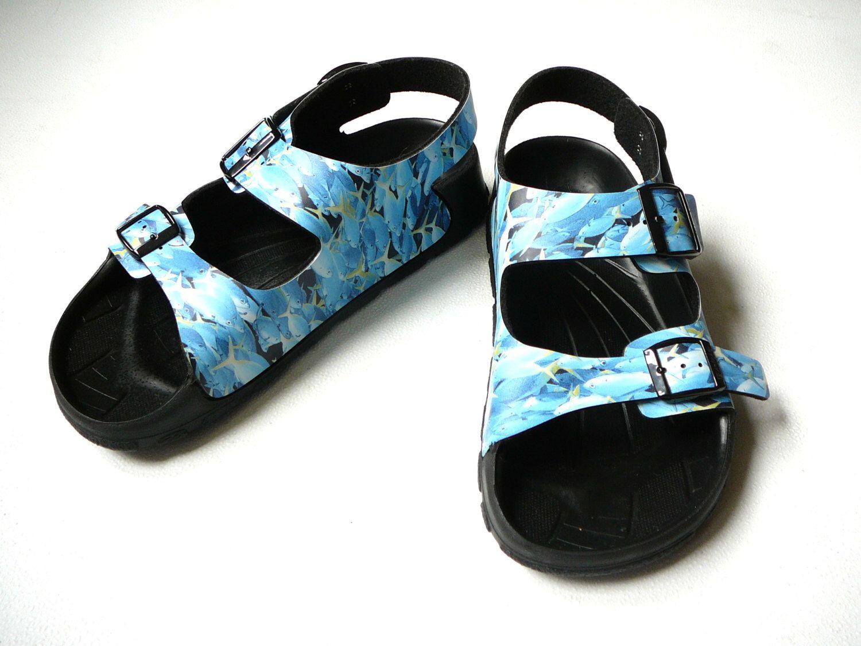 Womens sandals etsy - Birki By Birkenstock Blue Rubber Waterproof Slip Womens Mens Unisex 2 Strap Sandals Summer Shoes Beach